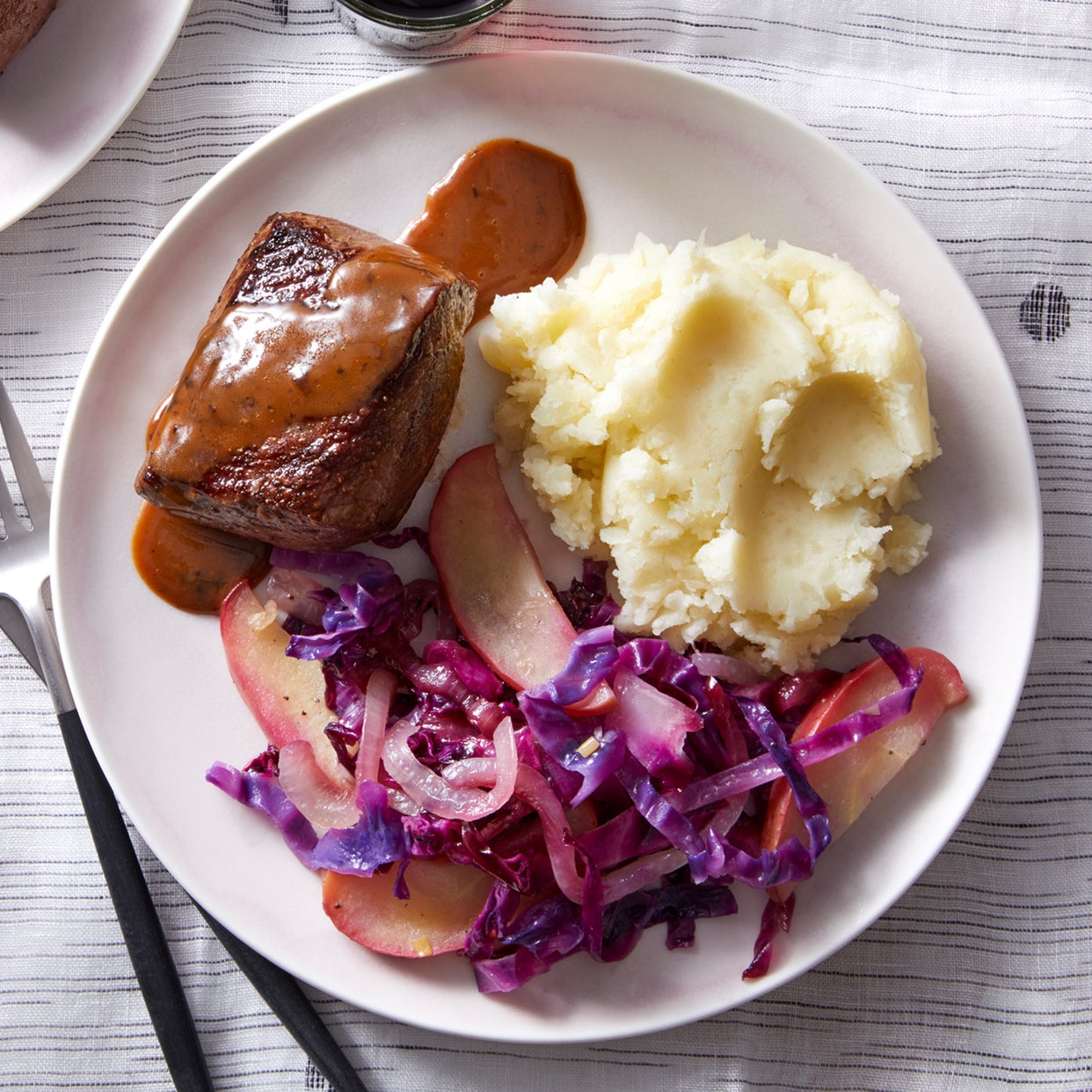 Seared Steaks & Mashed Potatoes with Braised Cabbage & Apple
