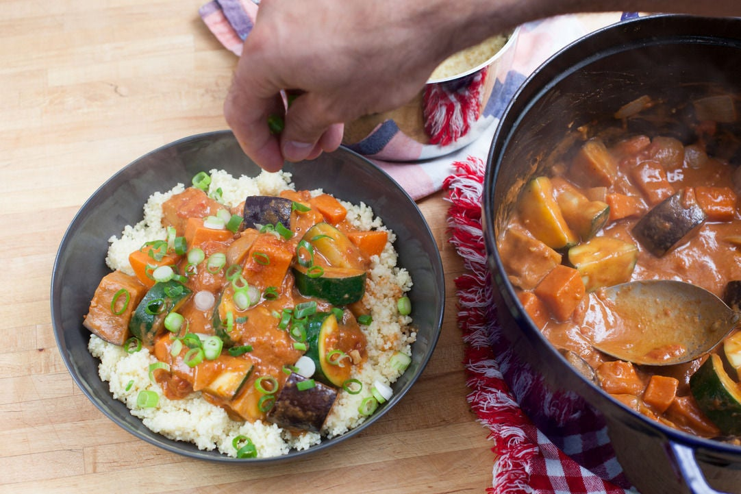 Recipe: West African Vegetable & Peanut Stew over Couscous - Blue ...