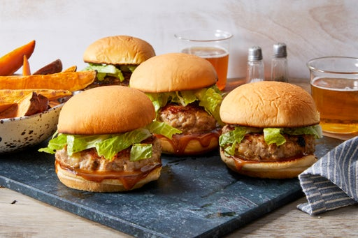 Ginger Chicken Burgers with Hoisin Mayo & Sweet Potato Wedges