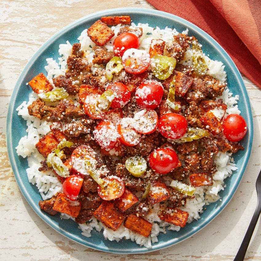 Smoky Guajillo Pork & Rice Bowls with Fresh Tomato Salsa & Lime Mayo