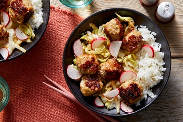Ginger Pork Meatballs with Cabbage & Jasmine Rice
