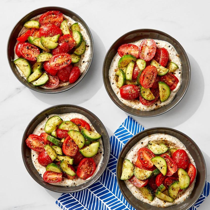 Tomato & Cucumber Salad over Garlic-Dukkah Yogurt
