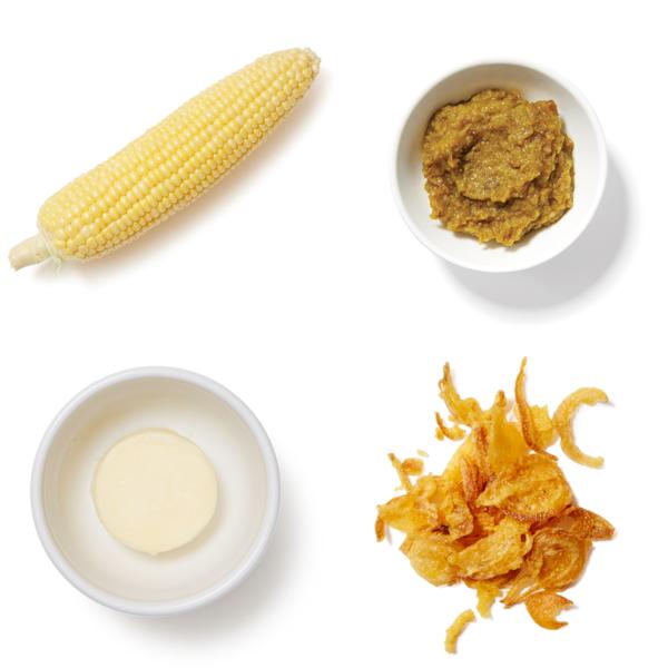 Corn on the Cob with Yuzu Kosho Butter & Crispy Onions