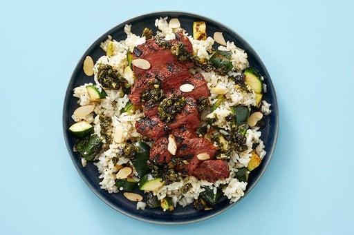 Finish & Serve the Steaks & Currant Salsa Verde