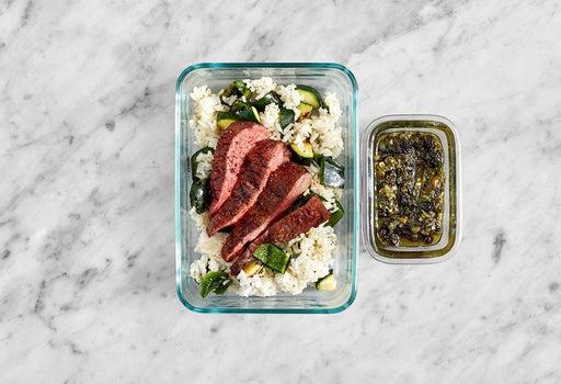 Assemble & Store the Steaks & Currant Salsa Verde