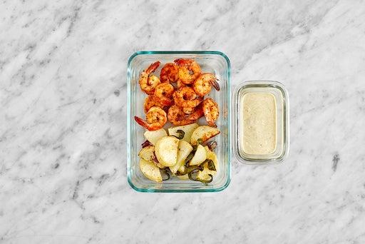 Assemble & Store the Shrimp & Roasted Vegetables