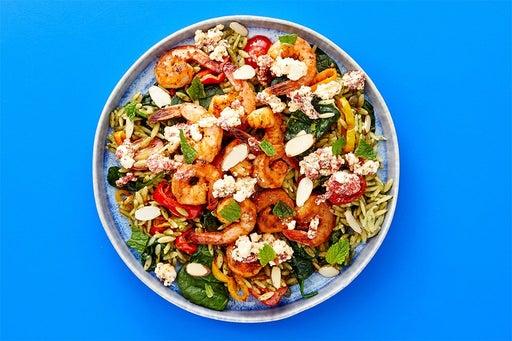 Finish & Serve the Seared Shrimp & Basil Pesto Pasta