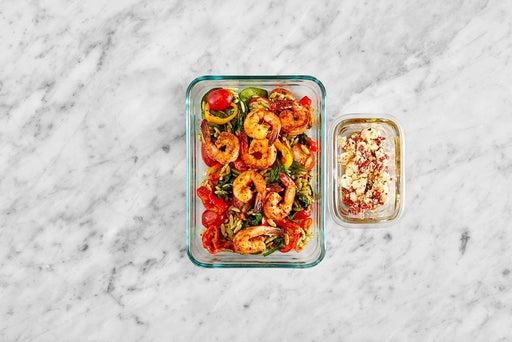 Assemble & Store the Seared Shrimp & Basil Pesto Pasta