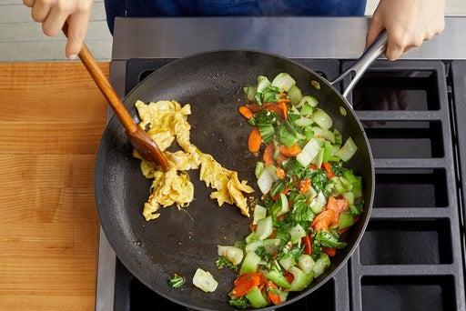 Cook the vegetables & egg
