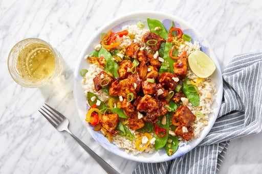 Spicy Mango Tofu & Brown Rice with Stir-Fried Vegetables