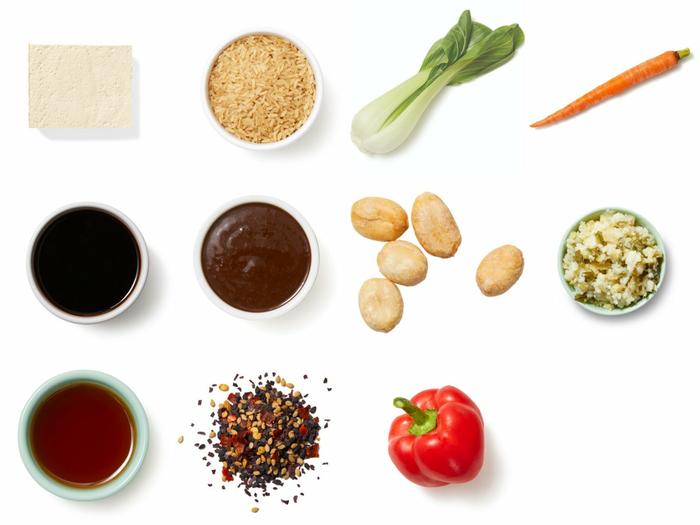 Black Bean-Chile Tofu with Brown Rice & Furikake Peanuts