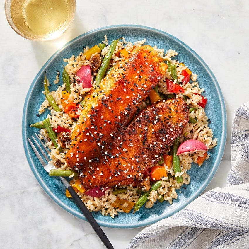 Spicy Maple Glazed Tilapia with Fig & Roasted Vegetable Rice