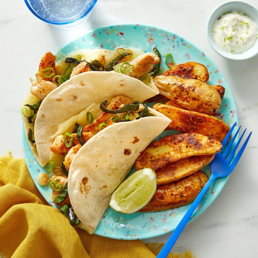 Cheesy Chicken & Poblano Tacos with Mexican-Spiced Fingerlings