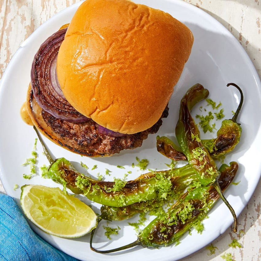 Spanish-Spiced Grilled Beyond Burger™️ with Charred Shishito Peppers & Lime Salt