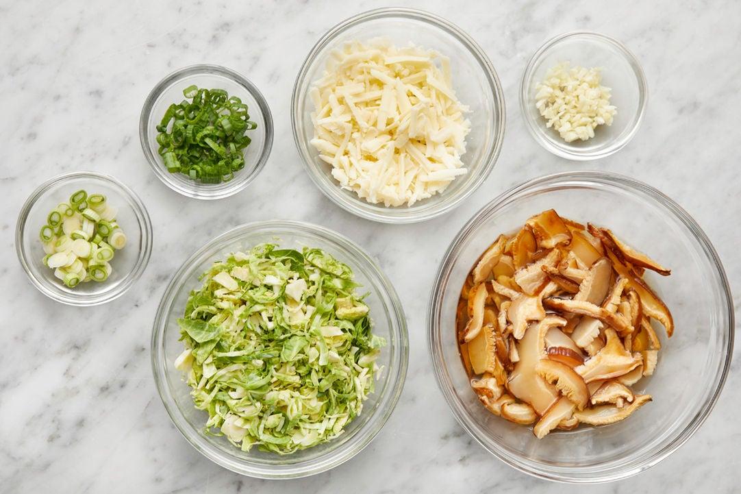 Prepare the ingredients & rehydrate the mushrooms: