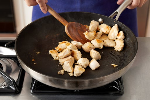 Chop the mushrooms & start the chicken: