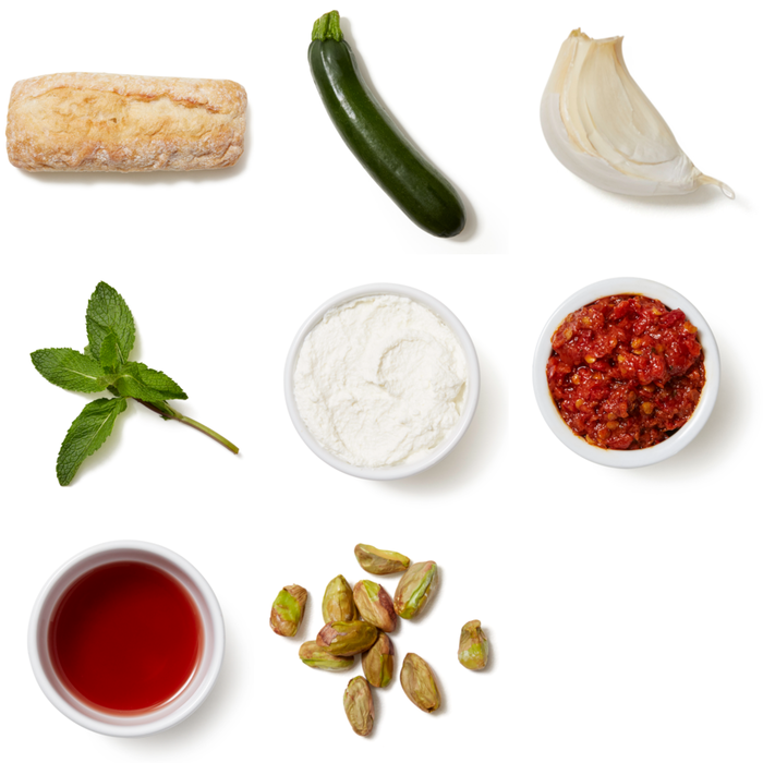 Ricotta & Spicy Zucchini Crostini with Pistachios & Mint