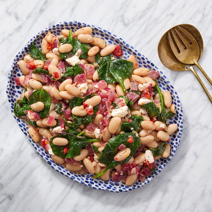 White Bean & Spinach Salad with Feta & Lemon