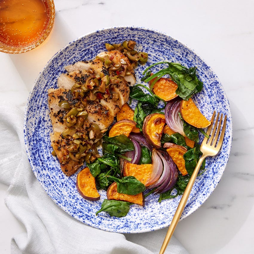 Oregano Chicken & Olive Pan Sauce with Roasted Sweet Potatoes, Onion & Spinach