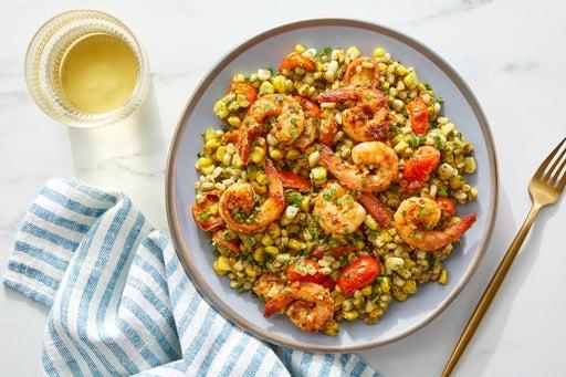 Garlic Shrimp & Pesto Barley with Corn & Tomatoes