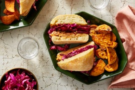 Spicy Smoked Trout Sandwiches with Roasted Sweet Potatoes