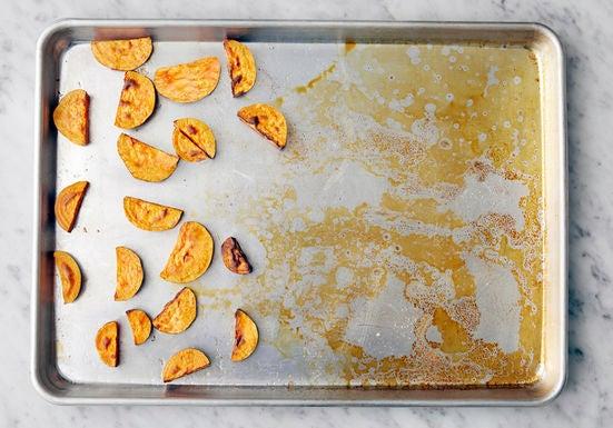 Prepare & start the sweet potatoes: