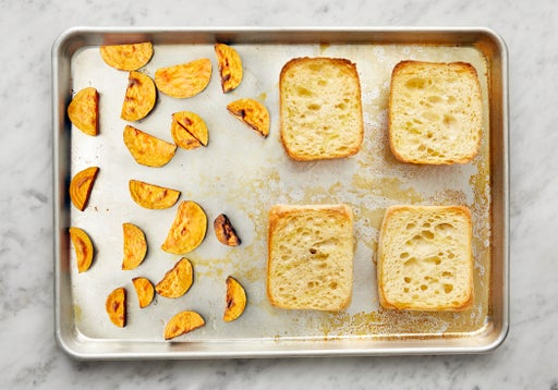Toast the rolls & finish the sweet potatoes: