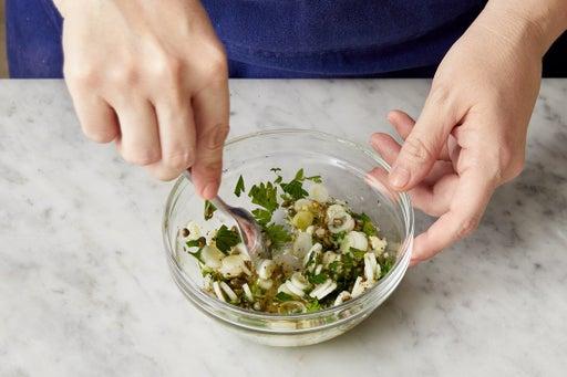 Make the salsa verde & serve your dish
