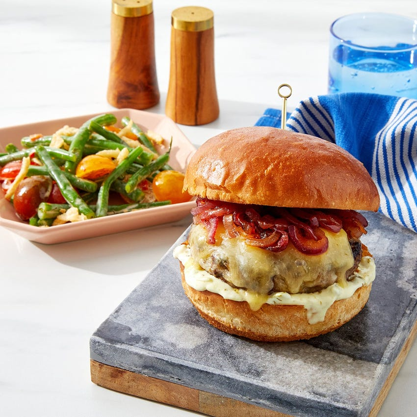 Cheddar & Spicy Red Onion Burgers with Ranch-Dressed Green Beans & Tomatoes