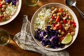 Caribbean Chickpea Curry with Roasted Cabbage & Rice