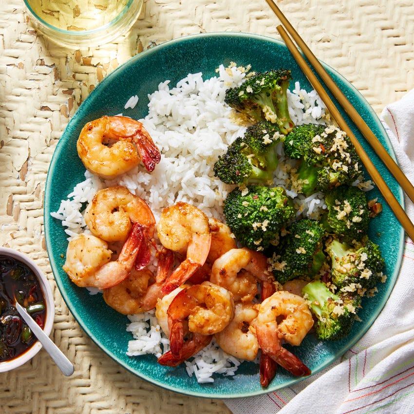 Garlic & Soy-Glazed Shrimp with Broccoli & Jalapeño-Lime Sauce