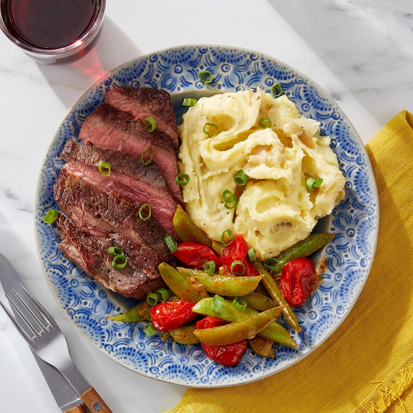 Steak & Cheesy-Garlic Mashed Potatoes with Sautéed Vegetables