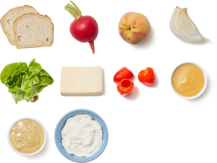 Fontina & Peach Grilled Cheese with Butter Lettuce & Radish Salad