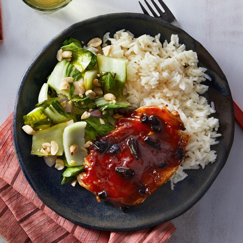 Soy-Glazed Chicken with Bok Choy & Sesame Rice