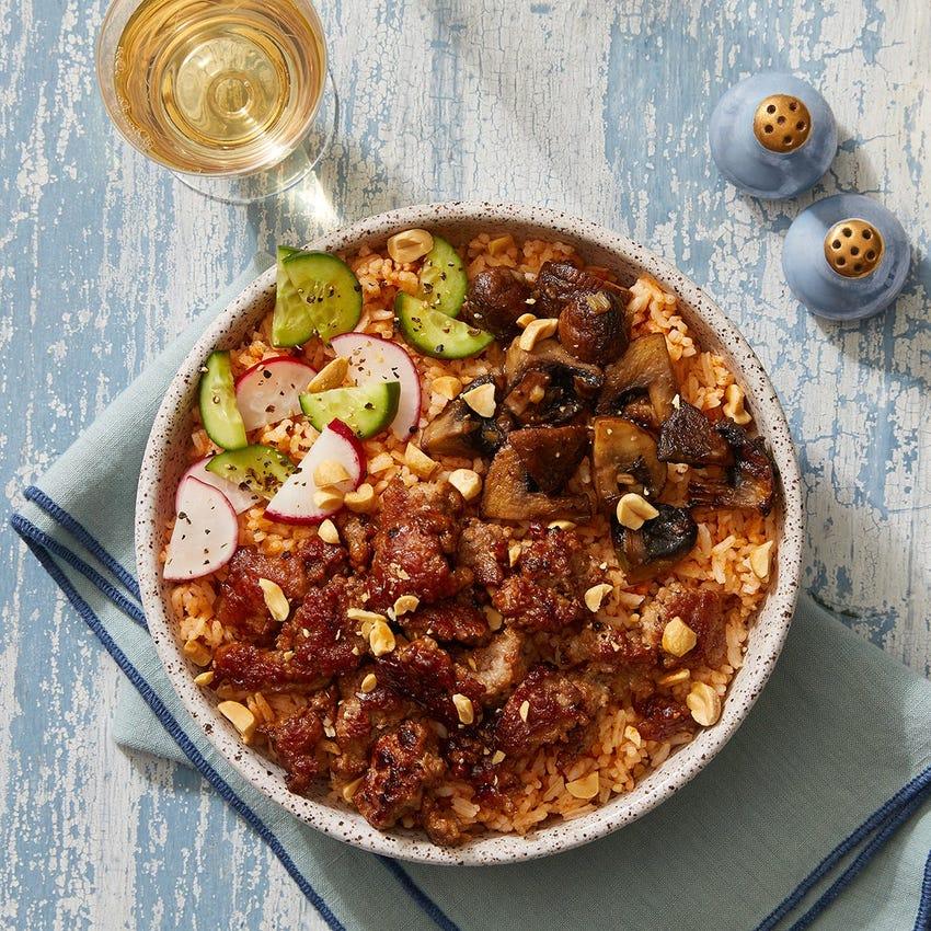 Hoisin Pork & Gochujang Rice Bowls with Mushrooms, Radishes & Marinated Cucumbers