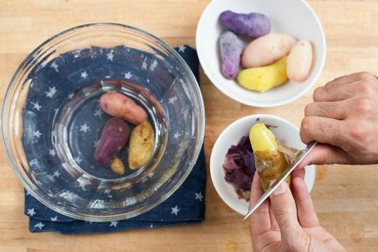 Cook & peel the potatoes: