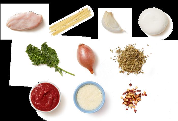 Stovetop Chicken Parmesan with Spaghetti & Kale