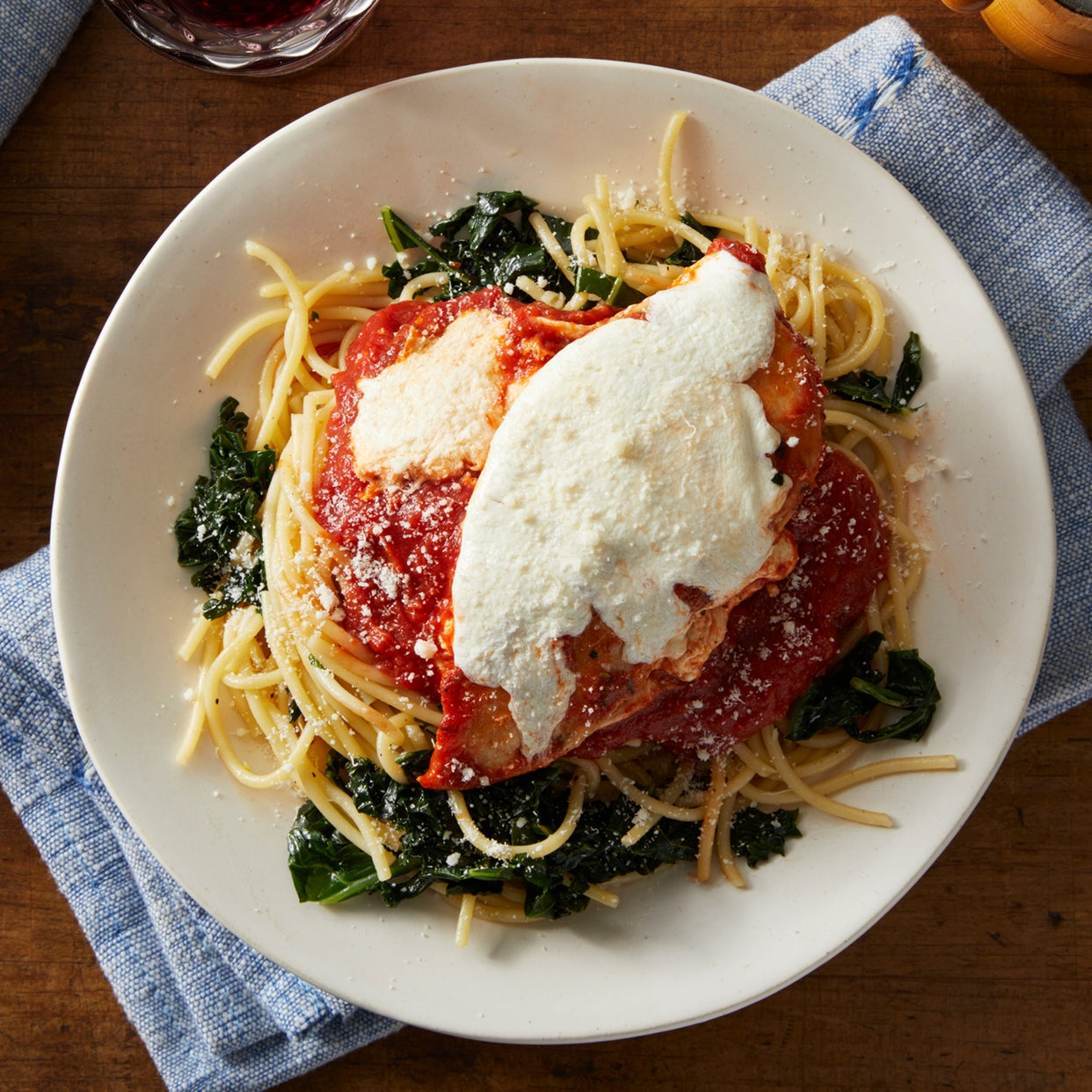Stovetop Chicken Parmesan with Spaghetti & Kale