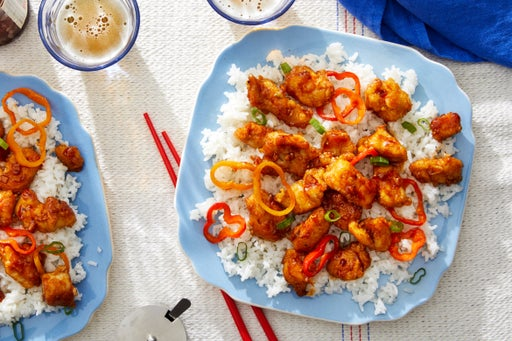 Sweet & Spicy Chicken with White Rice & Sweet Peppers
