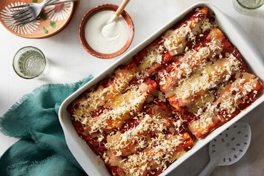 Spiced Rice & Bean Enchiladas with Sweet Peppers & Queso Blanco