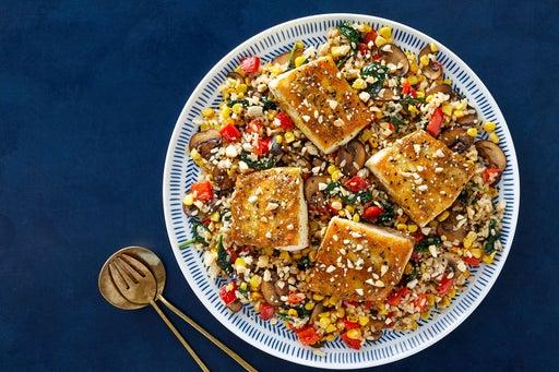 Yuzu & Honey-Glazed Yellowtail Fillets with Miso-Vegetable Rice & Cashews