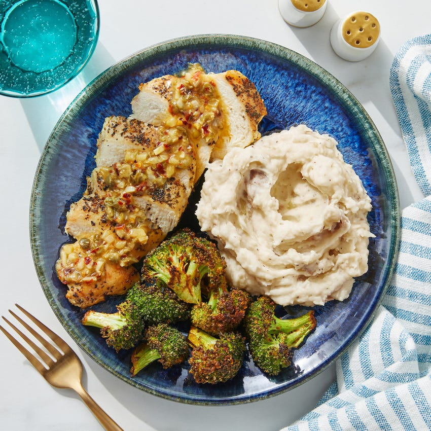 Lemon & Garlic-Butter Chicken with Roasted Broccoli & Mashed Potatoes