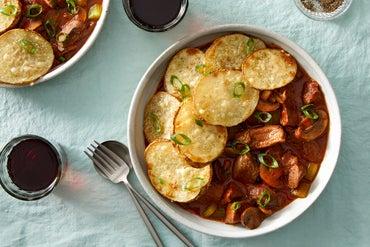 Beef & Mushroom Stew with Roasted Potatoes