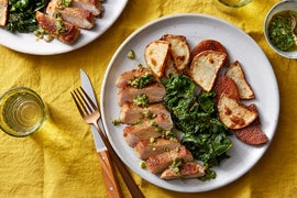 Pork Chops & Salsa Verde with Roasted Potatoes