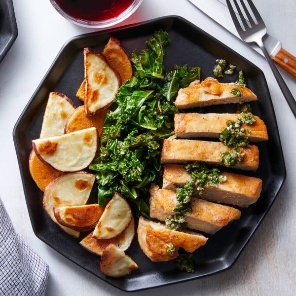 Pork Chops & Salsa Verde with Roasted Potatoes & Sautéed Kale