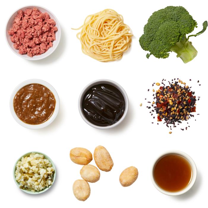 Turkey & Broccoli Lo Mein with Furikake Peanuts & Cumin-Sichuan Sauce