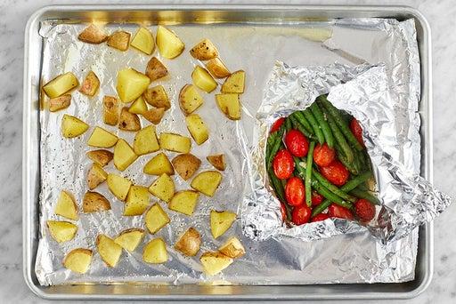 Roast the vegetables & finish the lentils