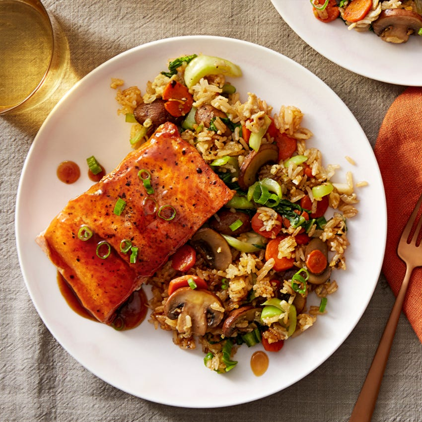 Soy-Orange Salmon with Vegetable Fried Rice