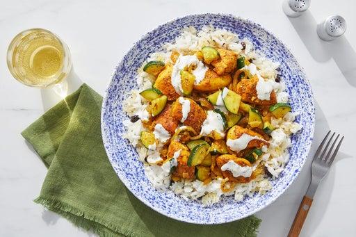 Persian-Style Chicken & Crispy Rice with Zucchini, Currants & Lemon Aioli