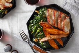 Sheet Pan Roasted Pork & Sweet Potatoes with Kale & Goat Cheese